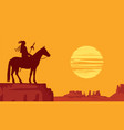 western landscape with silhouette an indian vector image