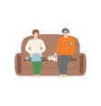woman and man sitting on comfortable sofa at home vector image vector image