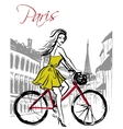 woman driving bicycle vector image vector image