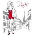 woman walking in Paris vector image