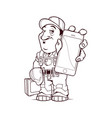 builder character with tools and phone vector image