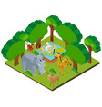 3d design for forest scene with wild animals vector image vector image