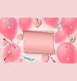 abstract pink background with paper banner candy vector image