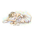 ballerina hand-drawn sketch a cute little girl vector image