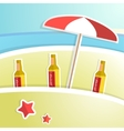 Beer with foam on bar counter Tropical resort vector image vector image