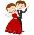 bride and groom waving hands vector image
