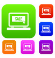 button sale on laptop set collection vector image