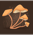 card with mushrooms honey agaric on a floral vector image vector image