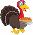cartoon turkey holding cake pie vector image