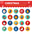 Circle flat Christmas and New Year icons set vector image