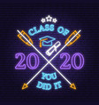 class 2020 neon bright signboard light vector image vector image