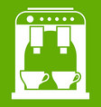 coffee machine icon green vector image vector image