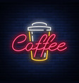 coffee neon sign logo emblem vector image