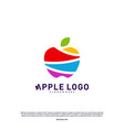 colorful apple logo design concept fruit apple vector image
