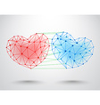Couple of connected hearts vector image vector image