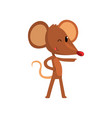 cute brown mouse pointing funny rodent character vector image