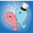 Cute cartoon whales vector image