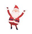 funny santa claus standing with rising hands cute vector image vector image