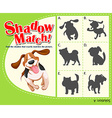 Game template with shadow matching dog vector image vector image