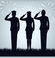 group military people silhouettes vector image vector image