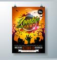 halloween zombie party flyer vector image vector image