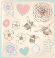 Hand Drawn Vintage Bees Flowers and Hearts Set vector image