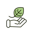 hand with leaf environment ecology line and fill vector image