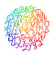 handwritten colorful alphabet vector image vector image