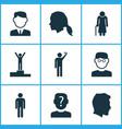 human icons set with winner gentleman head vector image vector image