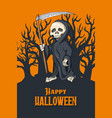 human skeleton in black robe standing with scythe vector image