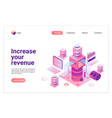 increasing revenue isometric landing page vector image vector image