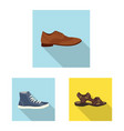 isolated object of shoe and footwear sign set of vector image
