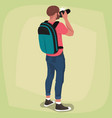 isolated photographer with his back vector image
