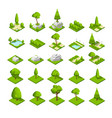isometric 3d nature elements forest and city park vector image