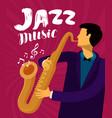 jazz music musician plays saxophone vector image