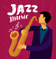 jazz music musician plays the saxophone vector image vector image