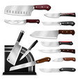 knives butcher meat knife set chef cutting vector image vector image
