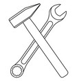 line art black and white crossed hammer and wrench vector image