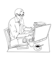 Man at work and a large number of documents vector image