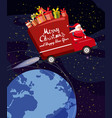 merry christmas santa claus van flies through vector image vector image