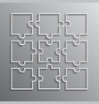 nine white puzzle pieces outline - jigsaw vector image