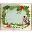 old vintage postcard with holly and bullfinch vector image vector image