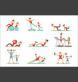 parent and child doing sportive exercises and vector image vector image