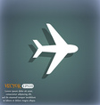 Plane icon symbol on the blue-green abstract vector image
