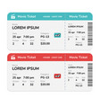 realistic modern cinema tickets isolated on white vector image vector image
