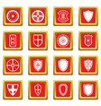 shield frames icons set red vector image vector image