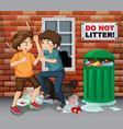 street teen fighting next trash vector image vector image