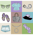 stylish fashion set of womans clothes vector image vector image