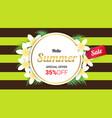 summer plumeria flowers gold frame or summer vector image vector image