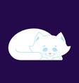 white cat sleep cute kitten is sitting pet vector image